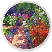 Romantic Garden Walk Round Beach Towel