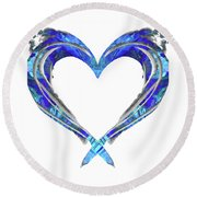 Romantic Heart Art - Big Blue Love - Sharon Cummings Round Beach Towel by Sharon Cummings