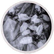 Romantic Island Iris In Black And White Round Beach Towel