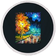 Romantic Night 2 - Palette Knife Oil Painting On Canvas By Leonid Afremov Round Beach Towel