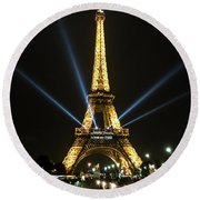 Romantic Night In Paris Round Beach Towel