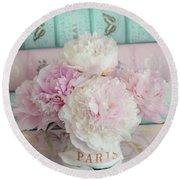 Paris Peonies Floral Books Art - Pink And Aqua Peonies Books Decor - Shabby Chic Peonies  Round Beach Towel