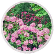 Romantic Rhododendrons Round Beach Towel