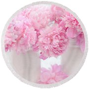 Shabby Chic Pastel Pink Peonies - Pink Peonies In White Mason Jars Round Beach Towel