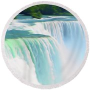 Romantic Skies Niagara Falls 2  Round Beach Towel