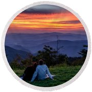 Romantic Smoky Mountain Sunset Round Beach Towel