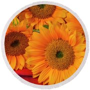 Romantic Sunflowers Round Beach Towel