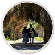 Romantic Walk 1870 Round Beach Towel