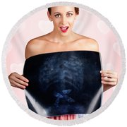 Romantic Woman In Love With Butterflies In Tummy Round Beach Towel by Jorgo Photography - Wall Art Gallery