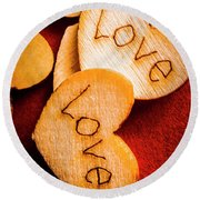 Romantic Wooden Hearts Round Beach Towel