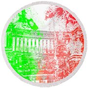 Rome - Altar Of The Fatherland Colorsplash Round Beach Towel