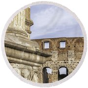 Rome Arch Of Titus Sculpture Detail Round Beach Towel