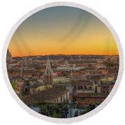 Rome At Sunset Round Beach Towel