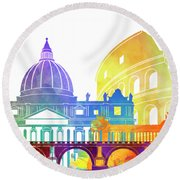 Rome Landmarks Watercolor Poster Round Beach Towel