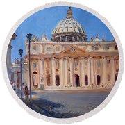 Rome Piazza San Pietro Round Beach Towel