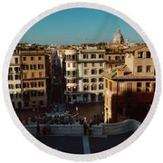 Rome Spanish Steps View Round Beach Towel