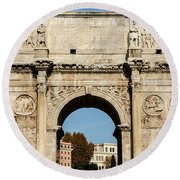 Rome - The Arch Of Constantine 3 Round Beach Towel