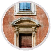 Rome Windows And Balcony Textured Round Beach Towel
