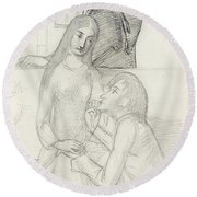 Romeo And Juliet, With Friar Lawrence Round Beach Towel