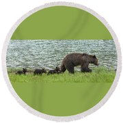 Romping By The Lake With Mama Bear Round Beach Towel