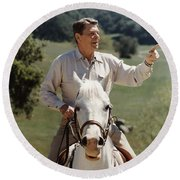 Ronald Reagan On Horseback  Round Beach Towel