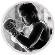 Ronda Rousey Fighter Round Beach Towel