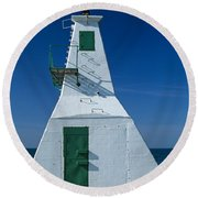Rondeau Lighthouse Round Beach Towel