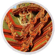 Roof Of Buddhist Temple In Thailand Round Beach Towel
