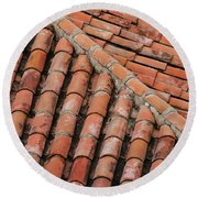 Roof Tiles And Mortar  Round Beach Towel