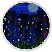Roof Top View Round Beach Towel
