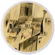 Roofs And Steeple Round Beach Towel
