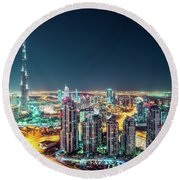 Rooftop Perspective Of Downtown Dubai Round Beach Towel