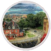 Rooftop View_pano Round Beach Towel