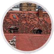 Rooftops Of Bamberg II Round Beach Towel
