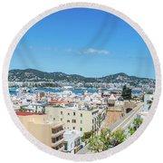 Rooftops Of Ibiza 4 Round Beach Towel