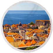 Rooftops Of Old Town Dubrovnik Round Beach Towel