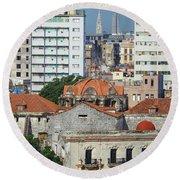 Rooftops Of Old Town Havana Round Beach Towel