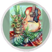 Room For Guitar Round Beach Towel