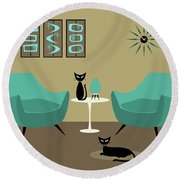 Room With Dark Aqua Chairs Round Beach Towel