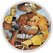 Roosevelt/mckinley Cartoon Round Beach Towel