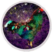 Rooster - Cockrell - Chicken Round Beach Towel