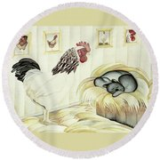 Rooster And Cat Round Beach Towel