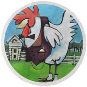 Rooster And Hen House Round Beach Towel