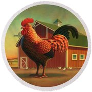 Rooster And The Barn Round Beach Towel