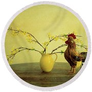 Rooster At Sunrise Round Beach Towel