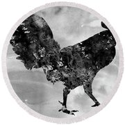 Rooster-black Round Beach Towel