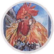 Rooster Country Painting On Blue  Round Beach Towel