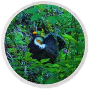 Rooster Grouse Posing Round Beach Towel
