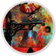 Rooster On The Door Whimsy Round Beach Towel