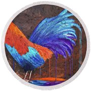 Rooster Painting Round Beach Towel